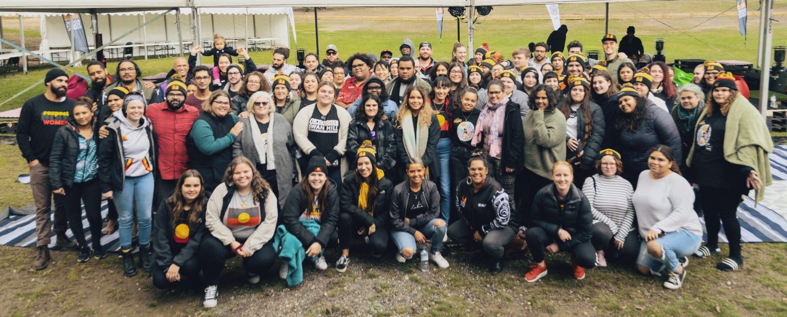 Group photo of 100 young people at the Koorie Youth Summit 2019