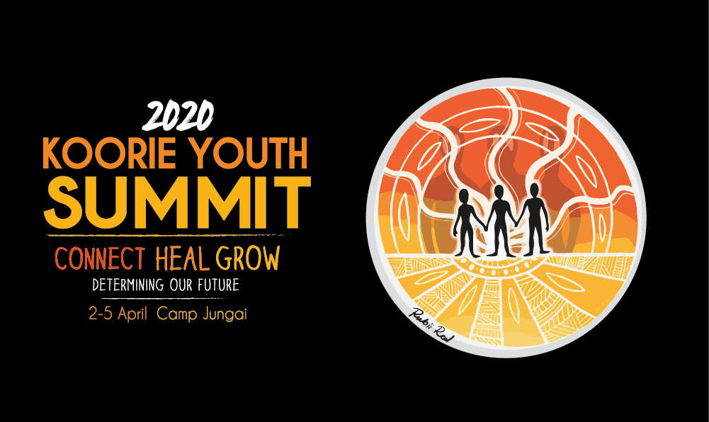 The 2020 Koorie Youth Summit logo with three figures in the middle surrounded by yellow orange and red